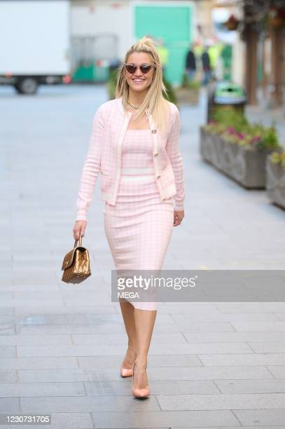 Ashley Roberts seen leaving Global Radio Studios on January 22, 2021 in London, England.