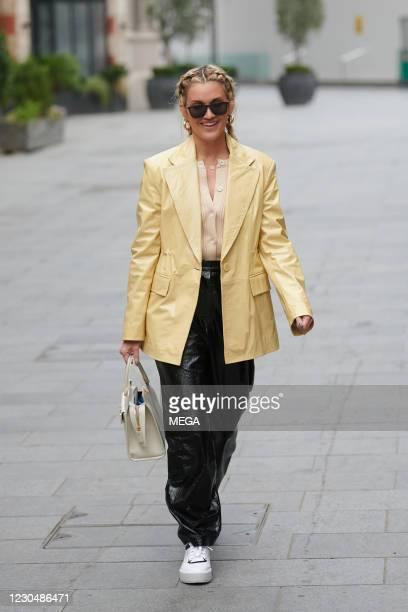 Ashley Roberts seen leaving Global Radio Studios on January 8, 2021 in London, England.