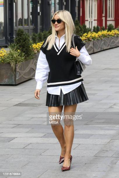Ashley Roberts seen leaving Global Studios on March 22, 2021 in London, England.
