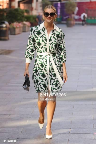 Ashley Roberts seen leaving Heart Breakfast Radio Studios on September 21, 2021 in London, England.