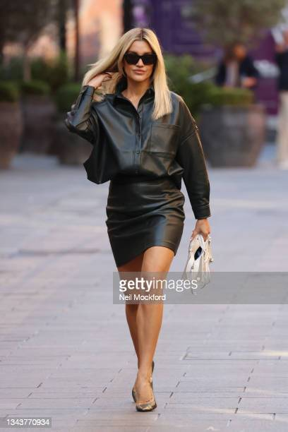 Ashley Roberts seen leaving Heart Breakfast Radio Studios on September 29, 2021 in London, England.