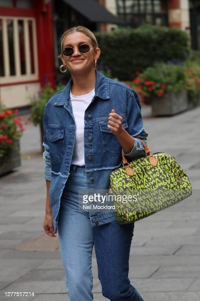 Ashley Roberts seen leaving Heart Breakfast Radio Studios on September 30, 2020 in London, England.