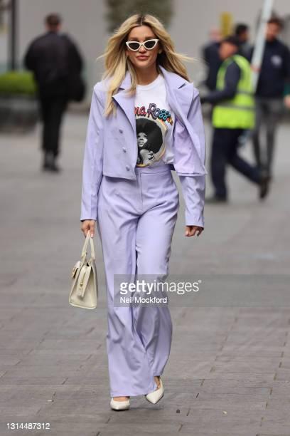 Ashley Roberts seen leaving Heart Breakfast Radio Studios on April 26, 2021 in London, England.