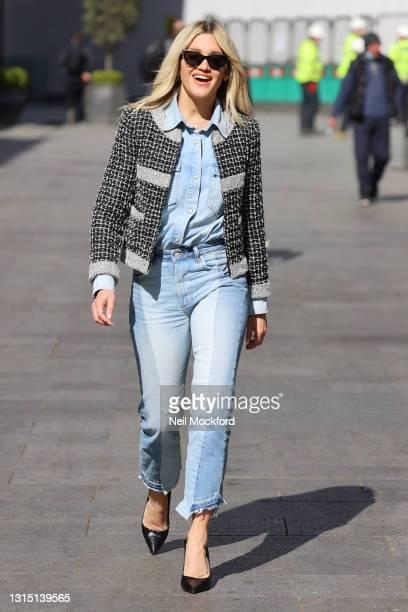Ashley Roberts seen leaving Heart Breakfast Radio Studios on April 29, 2021 in London, England.