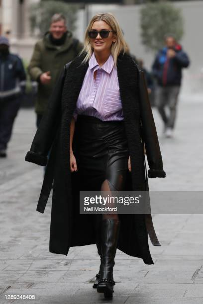 Ashley Roberts seen leaving Heart Breakfast Radio Studios on December 04, 2020 in London, England.
