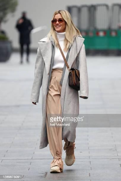 Ashley Roberts seen leaving Heart Breakfast Radio Studios on December 07, 2020 in London, England.