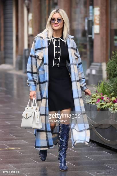 Ashley Roberts seen leaving Heart Breakfast Radio Studios on February 02, 2021 in London, England.