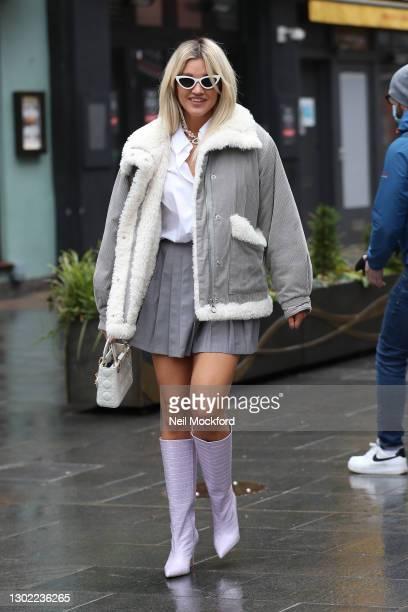 Ashley Roberts seen leaving Heart Breakfast Radio Studios on February 15, 2021 in London, England.