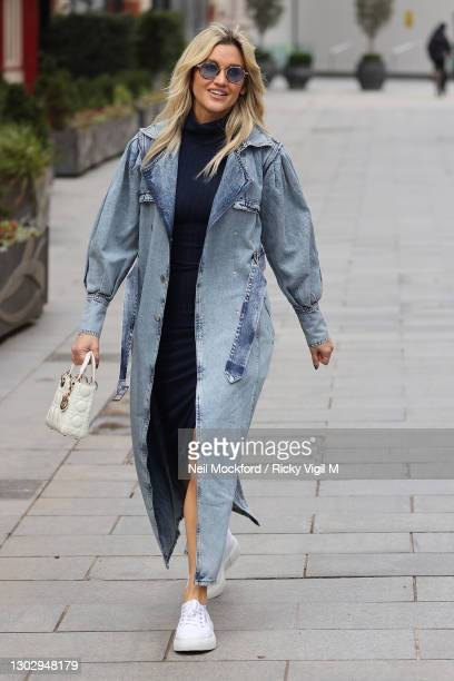 Ashley Roberts seen leaving Heart Breakfast Radio Studios on February 19, 2021 in London, England.