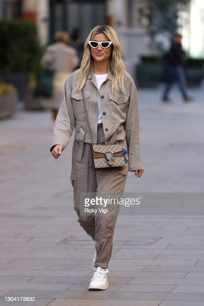 Ashley Roberts seen leaving Heart Breakfast Radio Studios on February 26, 2021 in London, England.