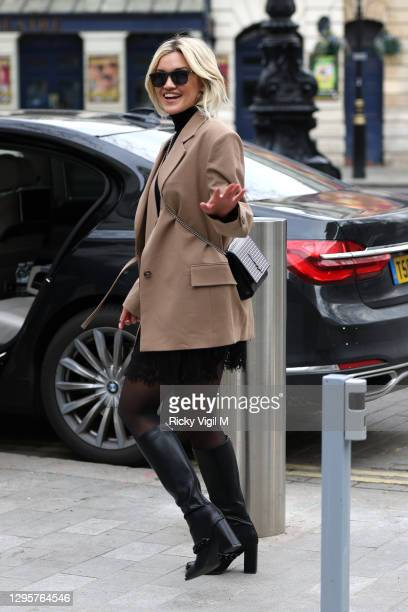 Ashley Roberts seen leaving Heart Breakfast Radio Studios on January 11, 2021 in London, England.