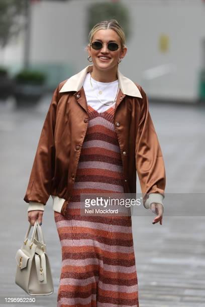 Ashley Roberts seen leaving Heart Breakfast Radio Studios on January 12, 2021 in London, England.