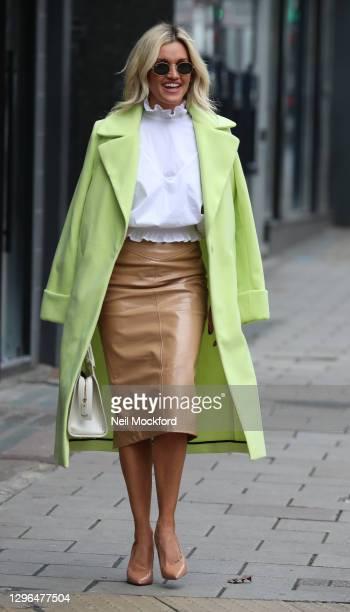 Ashley Roberts seen leaving Heart Breakfast Radio Studios on January 15, 2021 in London, England.