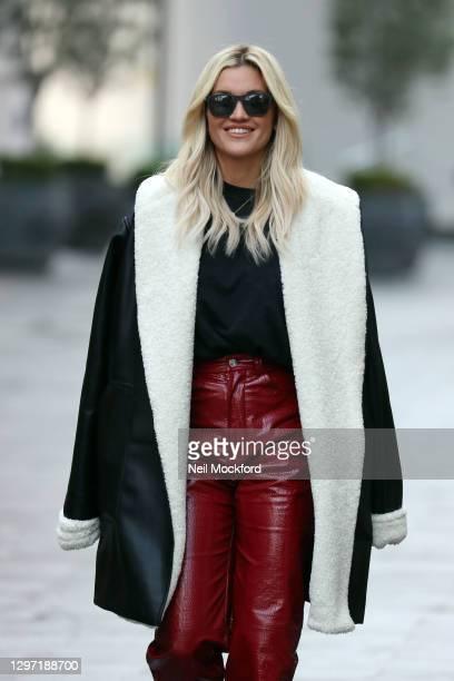 Ashley Roberts seen leaving Heart Breakfast Radio Studios on January 19, 2021 in London, England.