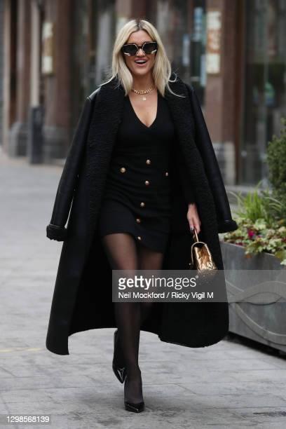 Ashley Roberts seen leaving Heart Breakfast Radio Studios on January 26, 2021 in London, England.