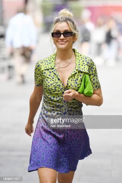Ashley Roberts seen leaving Heart Breakfast Radio Studios on July 01, 2021 in London, England.