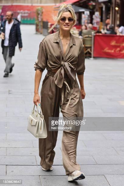 Ashley Roberts seen leaving Heart Breakfast Radio Studios on July 15, 2021 in London, England.
