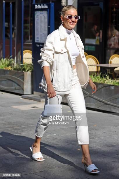 Ashley Roberts seen leaving Heart Breakfast Radio Studios on July 23, 2021 in London, England.