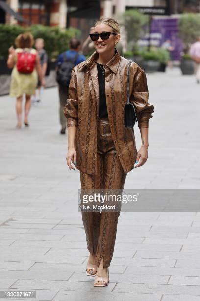 Ashley Roberts seen leaving Heart Breakfast Radio Studios on July 27, 2021 in London, England.