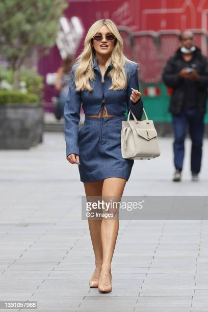 Ashley Roberts seen leaving Heart Breakfast Radio Studios on July 28, 2021 in London, England.