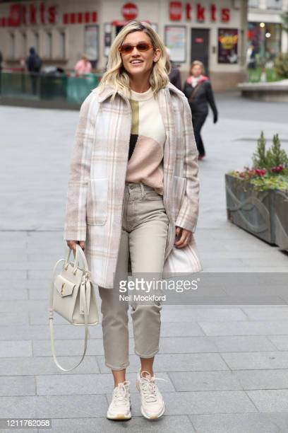 Ashley Roberts seen leaving Heart Breakfast Radio Studios on March 11, 2020 in London, England.