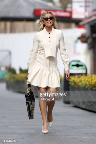 Ashley Roberts seen leaving Heart Breakfast Radio Studios on March 31, 2021 in London, England.