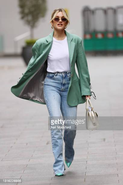 Ashley Roberts seen leaving Heart Breakfast Radio Studios on May 04, 2021 in London, England.