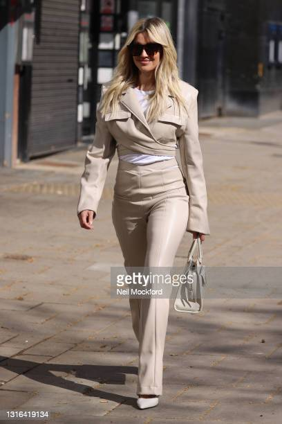 Ashley Roberts seen leaving Heart Breakfast Radio Studios on May 05, 2021 in London, England.