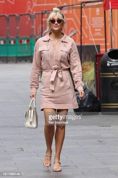 Ashley Roberts seen leaving Heart Breakfast Radio Studios on May 12, 2021 in London, England.