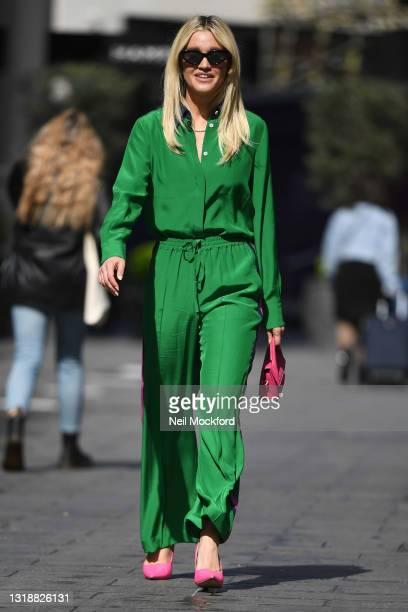 Ashley Roberts seen leaving Heart Breakfast Radio Studios on May 19, 2021 in London, England.