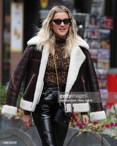 Ashley Roberts seen leaving Heart Breakfast Radio Studios on November 17, 2020 in London, England.