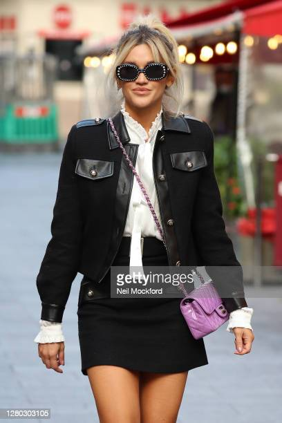 Ashley Roberts seen leaving Heart Breakfast Radio Studios on October 15, 2020 in London, England.