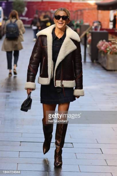 Ashley Roberts seen leaving Heart Breakfast Radio Studios on October 04, 2021 in London, England.
