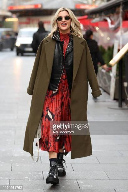 Ashley Roberts seen leaving Heart Radio Studios on December 16, 2019 in London, England.