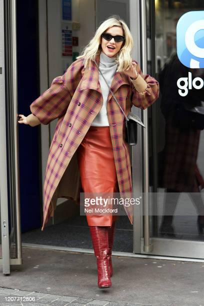 Ashley Roberts seen leaving Heart Radio Studios on February 21, 2020 in London, England.