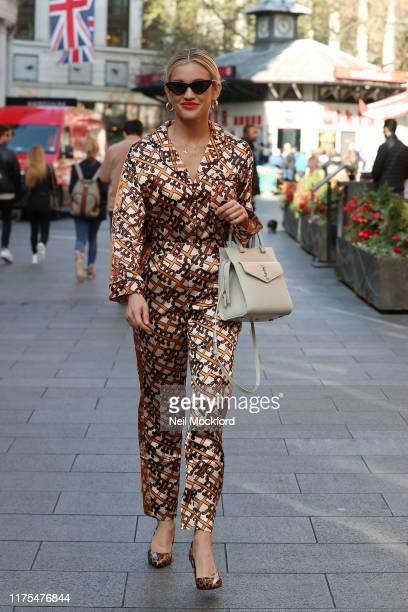 Ashley Roberts seen leaving Heart radio studios on September 18, 2019 in London, England.