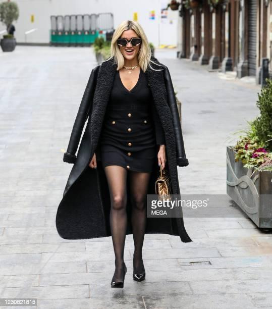 Ashley Roberts seen leaving the Global Radio Studios on January 26, 2021 in London, England.
