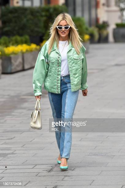 Ashley Roberts seen leaving the Global studios on March 16, 2021 in London, England.