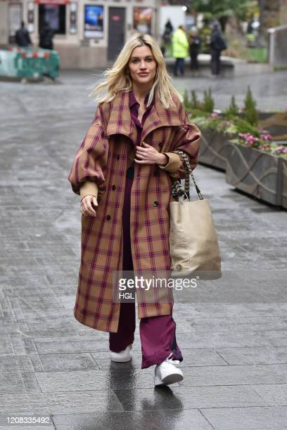 Ashley Roberts seen leaving the Heart radio studios on February 24, 2020 in London, England.