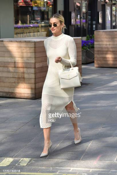 Ashley Roberts seen outside the Global Radio Studio on April 24, 2020 in London, England.