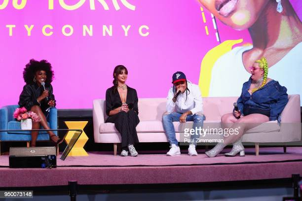 Ashley Rudder Kristen Hancher Young MA and Margie Plus speaks on a panel during Beautycon Festival NYC 2018 Day 2 at Jacob Javits Center on April 22...