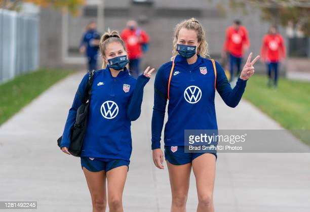 Ashley Sanchez and Jaelin Howell of the USWNT arrive at the field before a training session at Dick's Sporting Goods Park training fields on October...