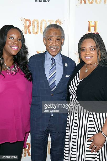 Ashley Sharpton Al Sharpton and Dominique Sharpton attend as HISTORY presents night one of the epic event series Roots at Alice Tully Hall on May 23...
