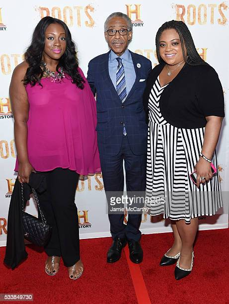 """Ashley Sharpton, Al Sharpton and Dominique Sharpton attend the """"Roots"""" night one screening at Alice Tully Hall, Lincoln Center on May 23, 2016 in New..."""