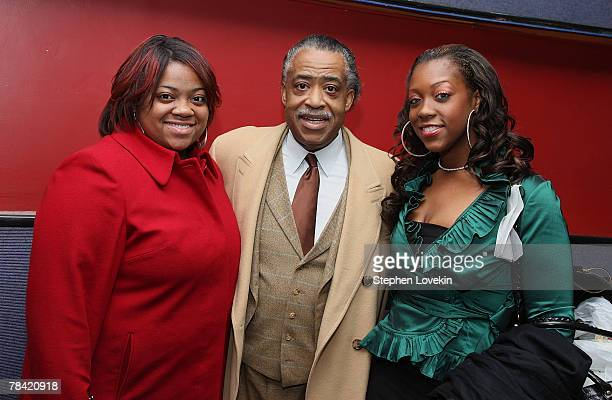 """Ashley Sharpton, Rev. Al Sharpton, and Dominique Sharpton attend the private screening of """"The Great Debaters"""" at Cinema 2 on December 12, 2007 in..."""