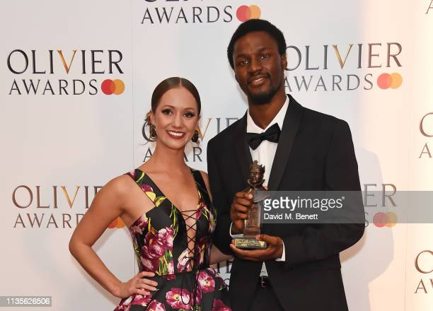 Ashley Shaw and Botis Seva winner of the Best New Dance production for 'Bikdog' pose in the press room at The Olivier Awards 2019 with Mastercard at...