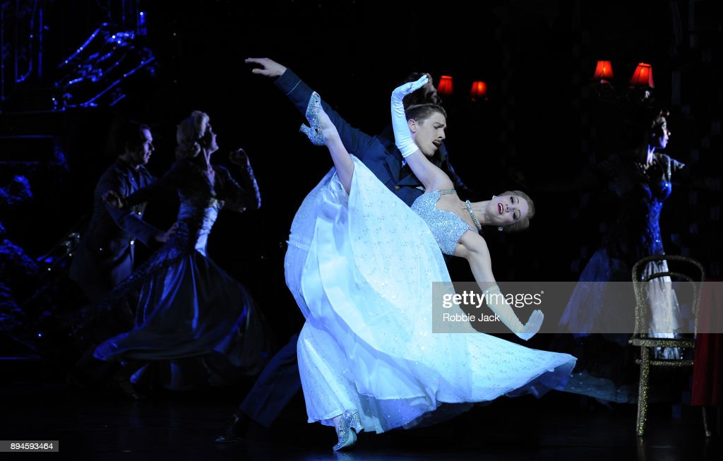 Ashley Shaw as Cinderella and Andrew Monaghan as Harry with artists of the company in Matthew Bourne's Cinderella at Sadler's Wells Theatre on December 15, 2017 in London, England.