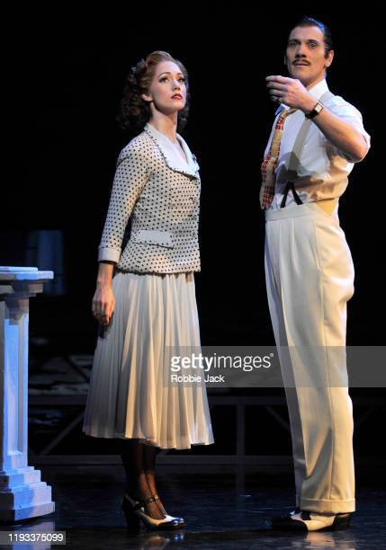 """Ashley Shaw as Victoria Page and Adam Cooper as Boris Lermontov in Matthew Bourne's """"The Red Shoes"""" at Sadler's Wells Theatre on December 11, 2019 in..."""
