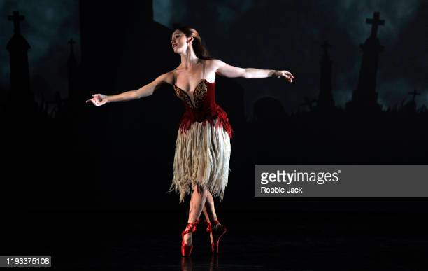 """Ashley Shaw as Victoria Page in Matthew Bourne's """"The Red Shoes"""" at Sadler's Wells Theatre on December 11, 2019 in London, England."""
