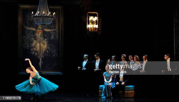 """Ashley Shaw as Victoria Pagewith artists of the company in Matthew Bourne's """"The Red Shoes"""" at Sadler's Wells Theatre on December 11, 2019 in London,..."""